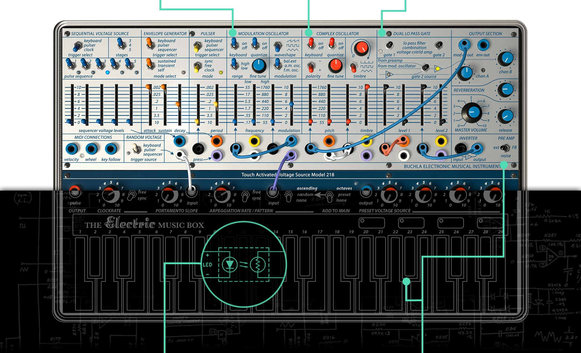 Arturia Details Audio Oscillators Gate 1 Is Hardwired To The Complex Oscillator You Can Switch 2 Process Preamps Output Modulation Or